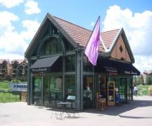 Alt text: Sales office mountain village gondola plaza