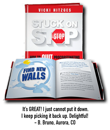 Author and Keynote Speaker Vicki Hitzges' book Stuck on Stop book with testimonial beneath