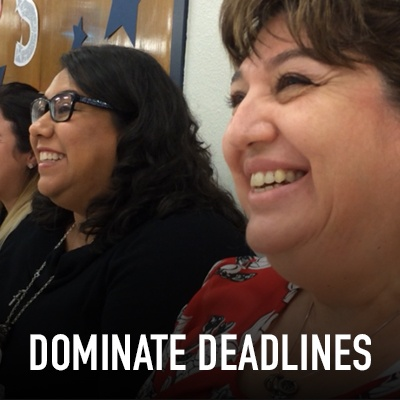 Women smiling with Dominate Deadlines title
