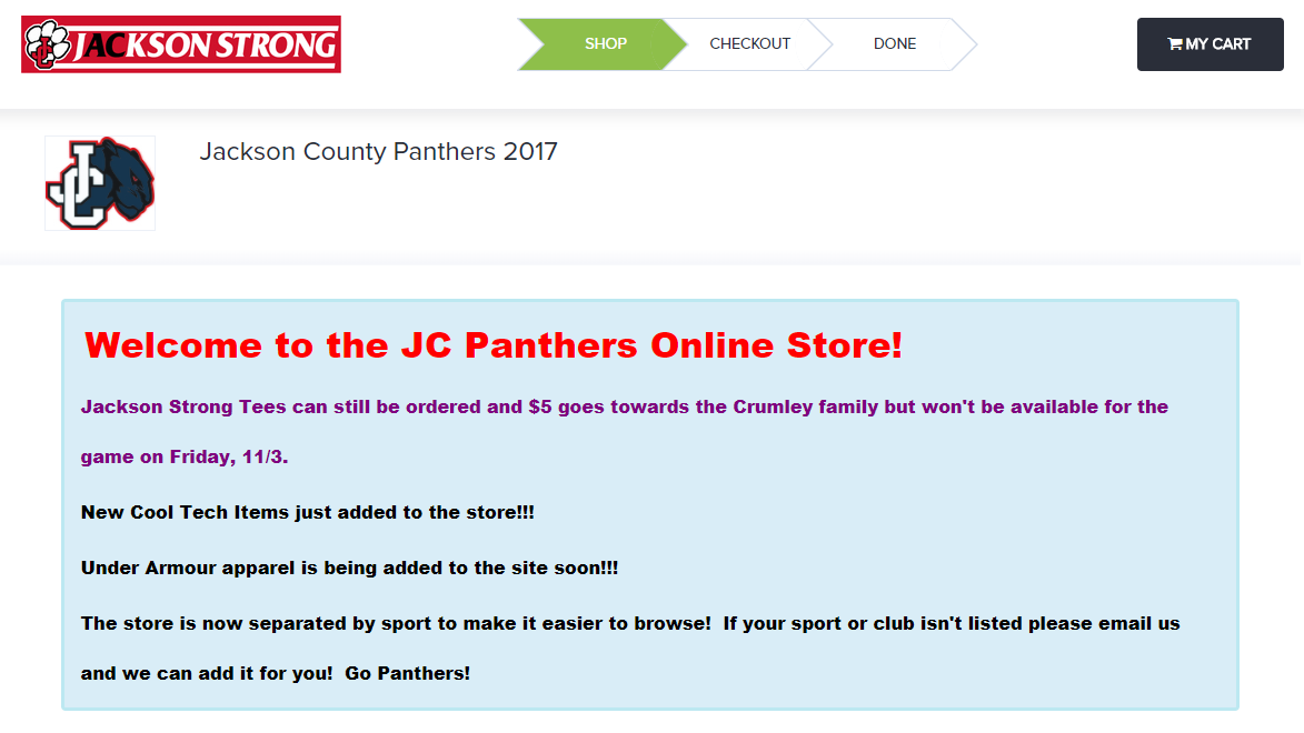 Welcome to the JC Panthers Online Store! Click the image to shop.