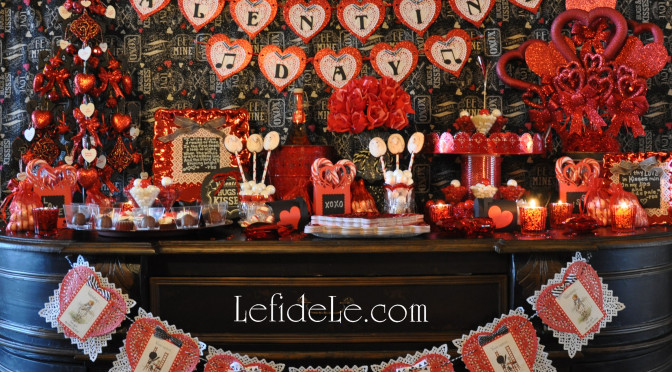 Chalkboard & Glitter Hearts Themed Valentine's Day Party Buffet Décor Ideas (+ DIY & Printable Links)