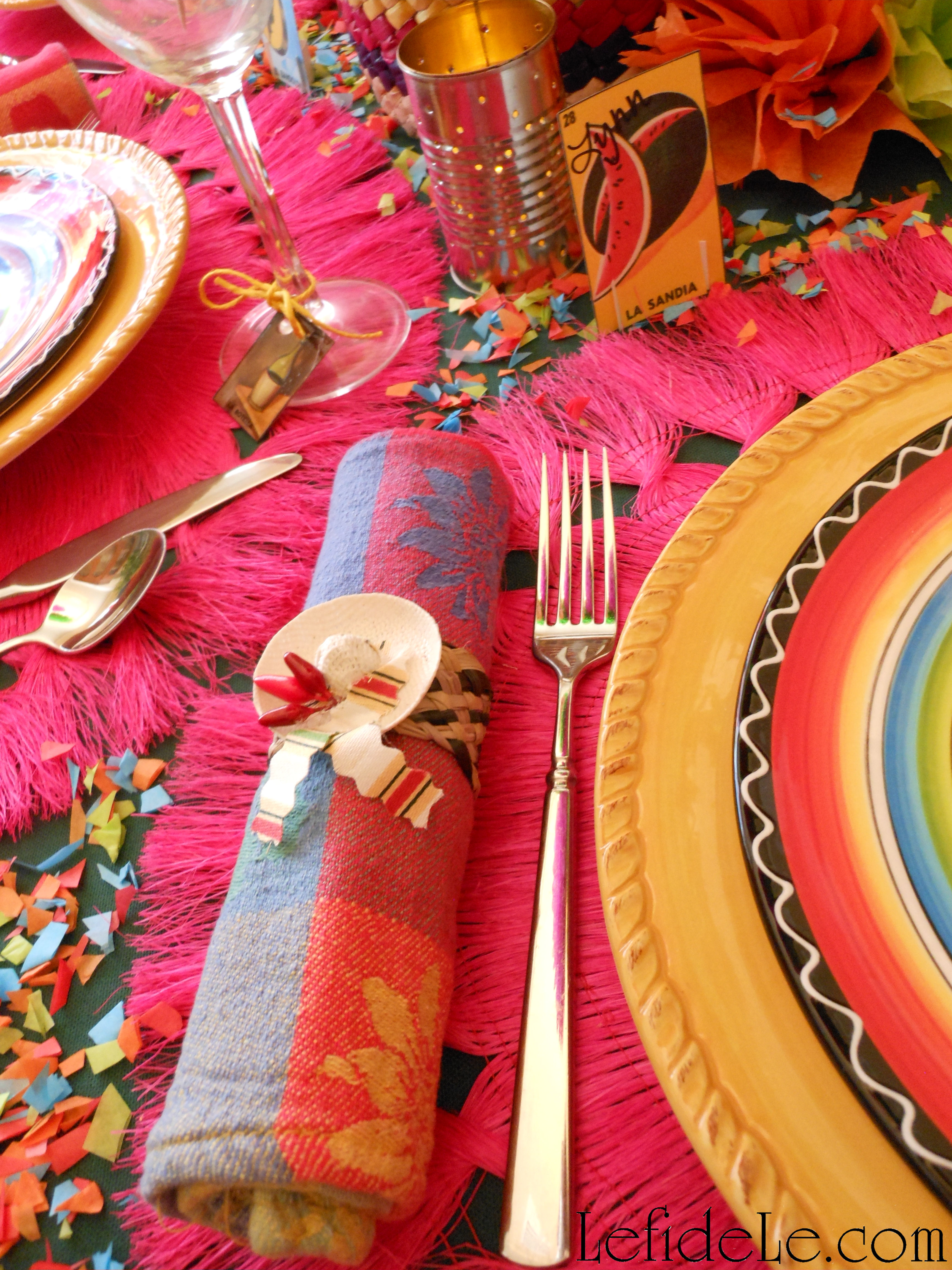 Easy Diy Sombrero Napkin Rings Serape Invitations Loteria Sangria Wine Glass Charms Place Cards Crafts For Cinco De Mayo Fiesta Tablescape