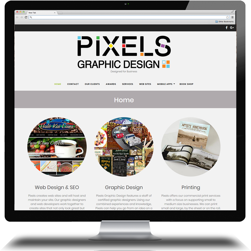 Pixels Graphic Design web site