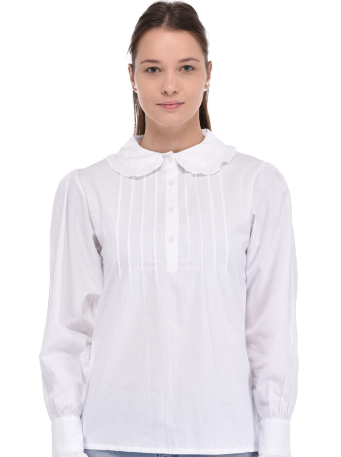 Plus Size Peter Pan Collar White Blouse | Cotton Lane
