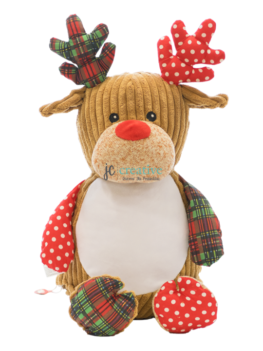 Personalized reindeer plush and cuddly reindeer