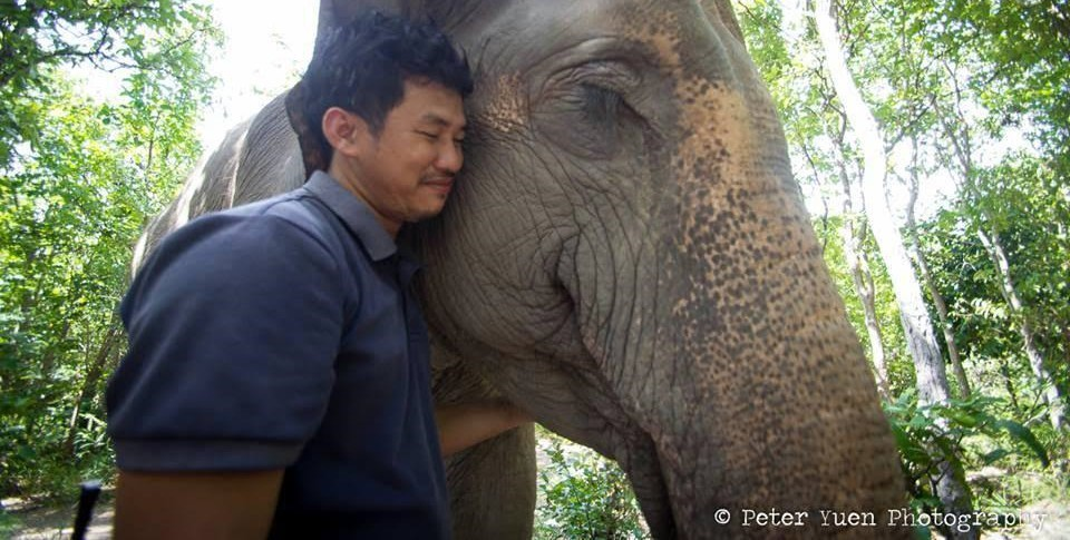 Keeper Sitheng with Lucky the elephant at Phnom Tamao Wildlife Rescue Centre Cambodia Wildlife Alliance