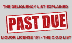 Past due liquor license delinquency list