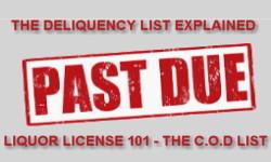 Past due liquor license delinquency list
