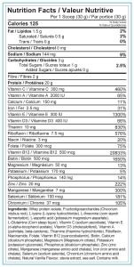 Bodyflex AM Vanilla Nutrition Facts Label-1