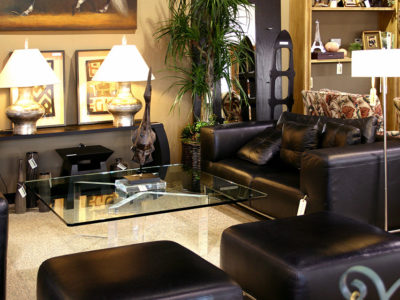 Black Leather Sofa with Glass Coffee Table