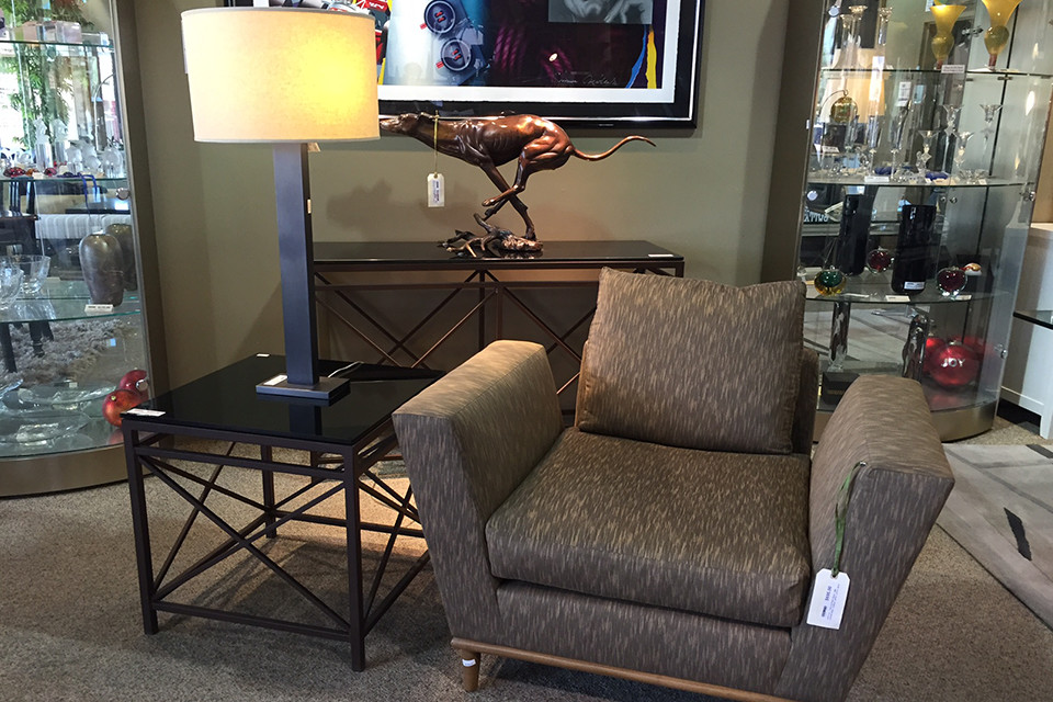 Black and Gold Arm Chair with Small Wooden Legs