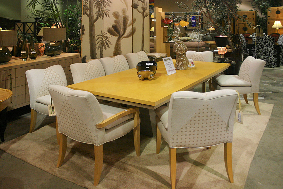Dining Set with 8 Upholstered Chairs and Yellow Wood Table