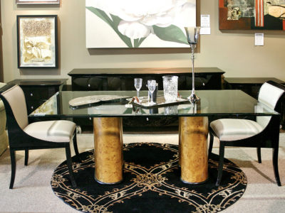 Dining Table with Glass Top and 2 Pedestal Legs