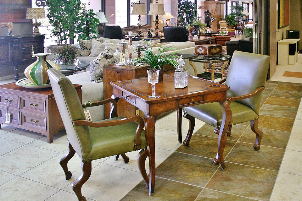 Game Table with Green Leather Arm Chairs