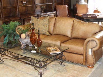 Leather Couch and Glass Coffee Table