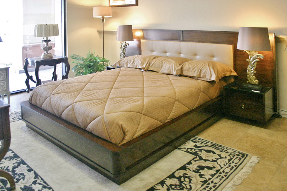 Platform Bed with Wide Head Board and Nightstands