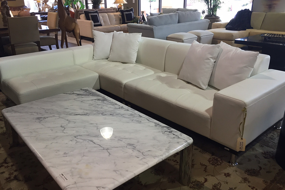 White Leather Sectional Sofa With