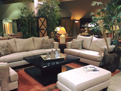 White Sofa and Love Seat with Matching Arm Chair and Ottoman