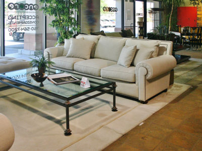 White Sofa with Rectangle Glass Coffee Table