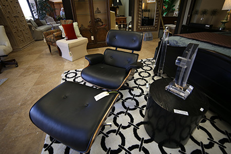 Consignment Furniture Store has Great Deals on Furniture Like This Leather Chair with Ottoman