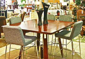 Wood Table with 5 Gray Bar Stools