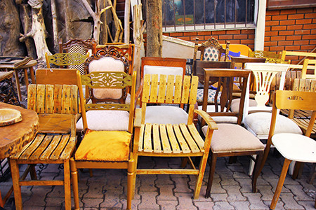 Consignment Furniture Store Displaying Wooden Chairs