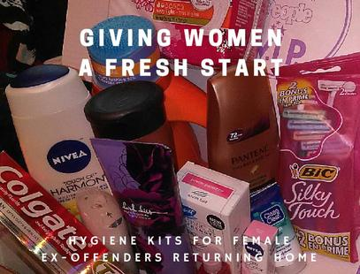 Hygiene Kits for the women ex-offenders returning home.  (Most women come home with only the clothes on their back)