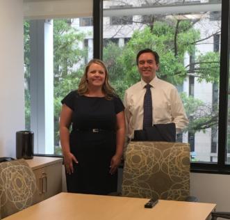 Jennifer Harkleroad and Matthew Brassard in Nitsch Engineering of DC office