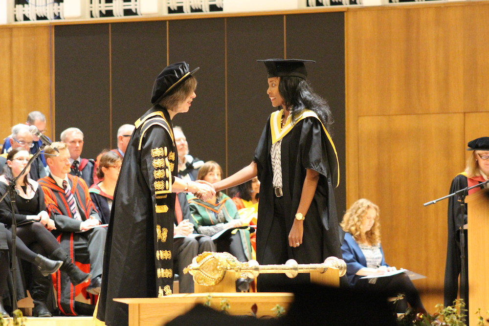 The graduand being admitted to the degree