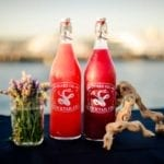 Photo of Snake Oil Cocktail Co's mixers on a bar with the harbor in the background with decoraitons