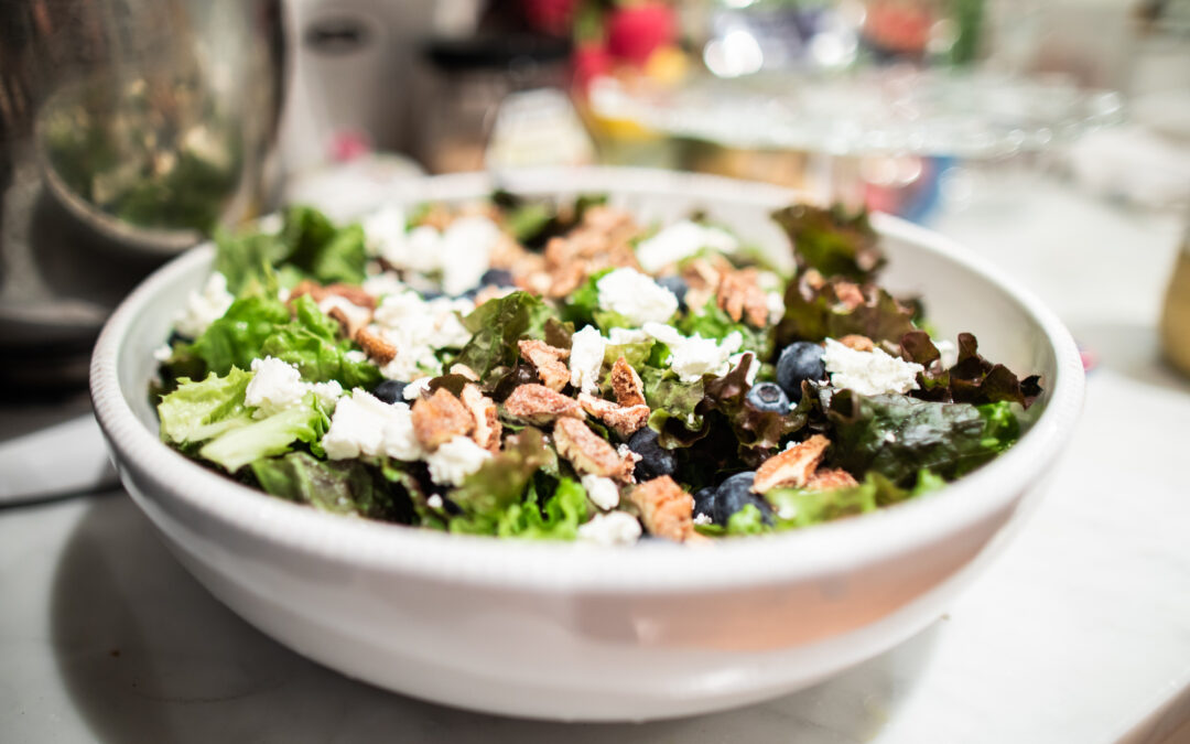 Salad Greens with Candied Nuts, Blueberries, Goat cheese and Balsamic Dressing