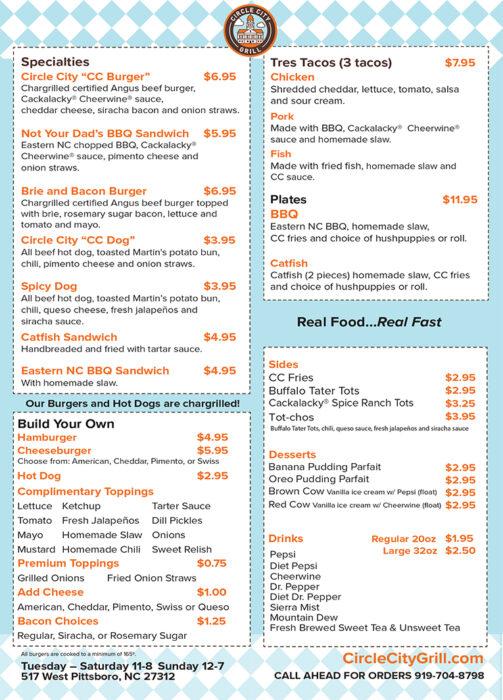 Circle City Grill take out menu