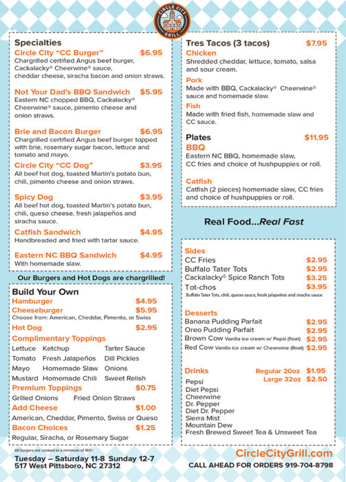 Circle City Grill take out menu