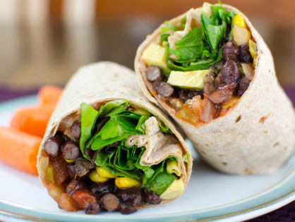 Avocado Black Bean Veggie Wrap