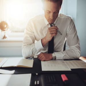 Photo of Accountant looking at documents
