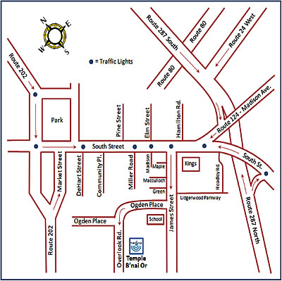 Temple Bnai Map