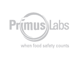 PrimusLabs when food safety counts logo, grey