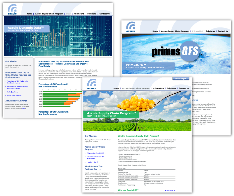 Azzule Systems, three website designs, with date, field and PrimusGFS global