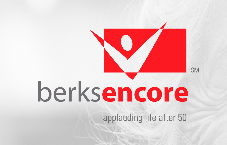 Berks Encore Logo with red and reads applauding life after 50