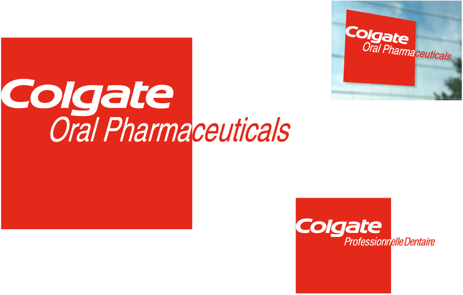 Colgate Oral Pharmaceuticals, Colgate Professionnelle Dentaire, three samples, logos and signage