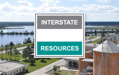 Interstate Resources logo with lagoon and manufacturing