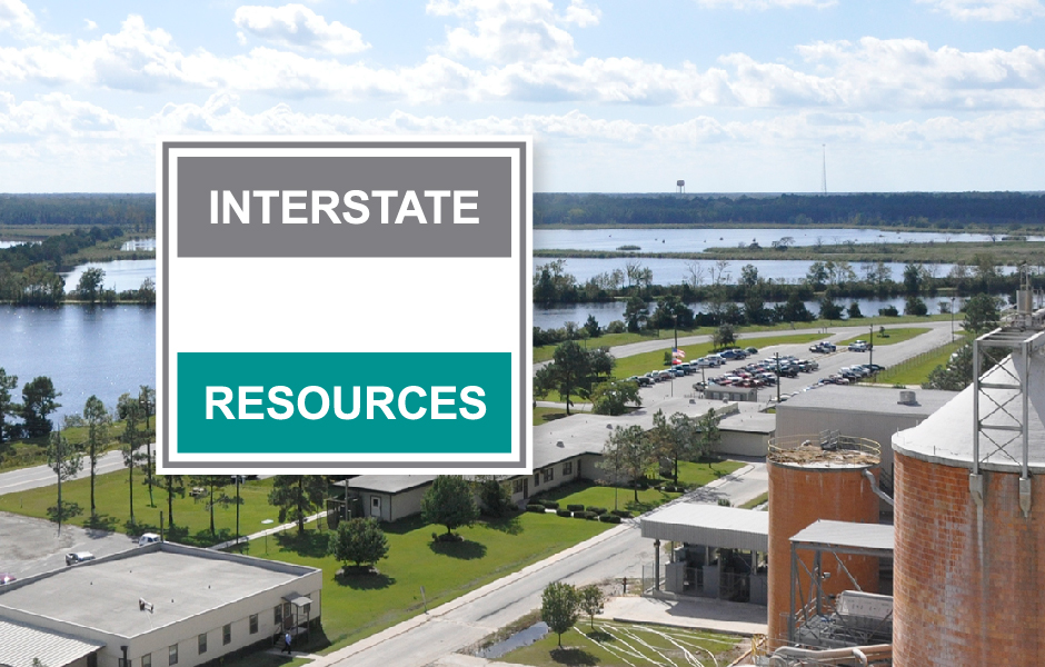 Interstate Resources Logo, teal, white and grey, with Savannah lagoon and manufacturing background