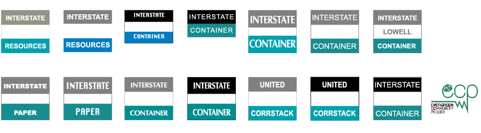 Interstate Container, 14 logo variations, with Evergreen logo