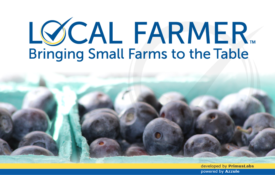 PrimusLabs Local Farmer Program, logo, with blue berries in cartons