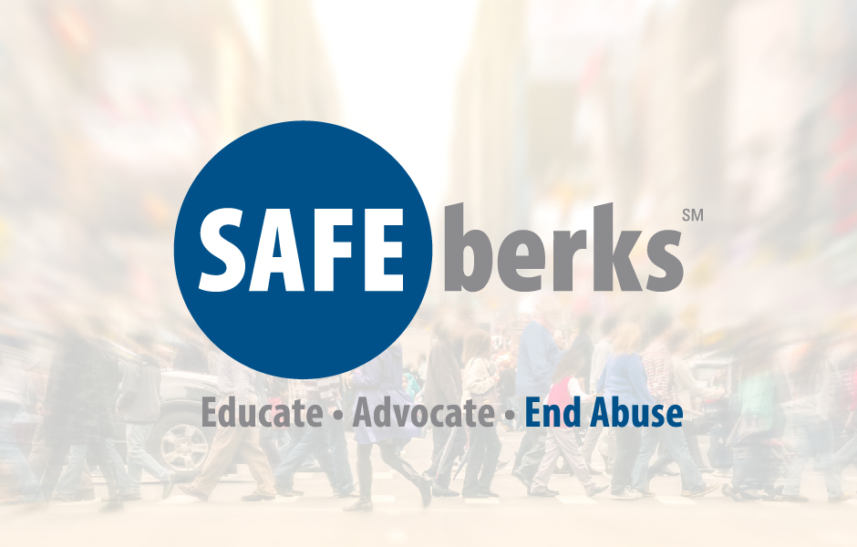 Safe Berks, logo, with rushing city walkers in the background