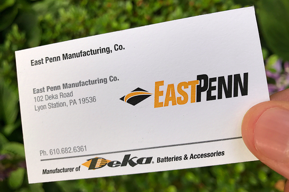 East Penn Business Card, Deka orange and black on white card