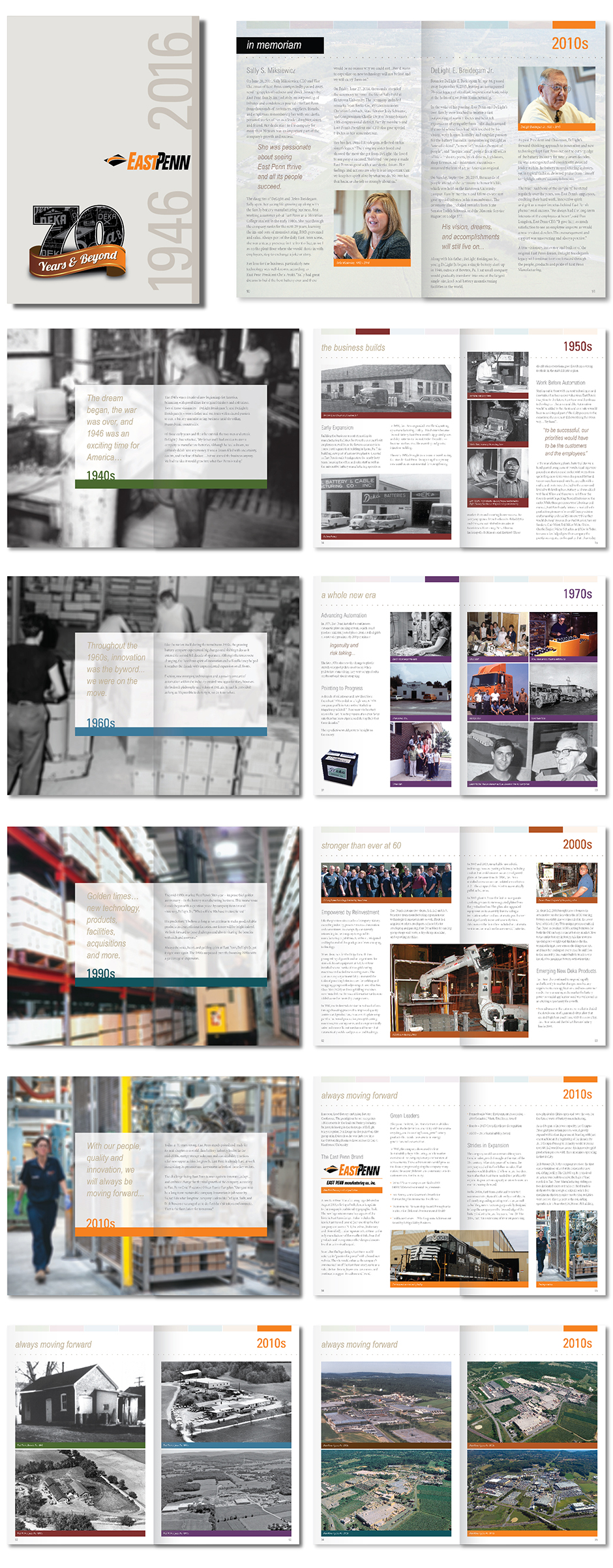 East Penn Manufacturing 70th Anniversary Book with Cover and Sample Page Spreads