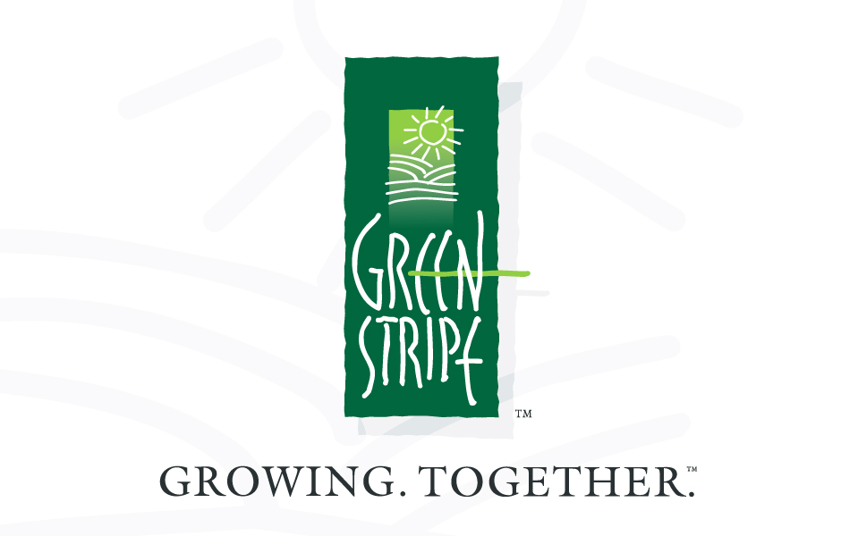 GreenStripe, Design Logo, green, organic, fields, hills and sun. Growing. Together.