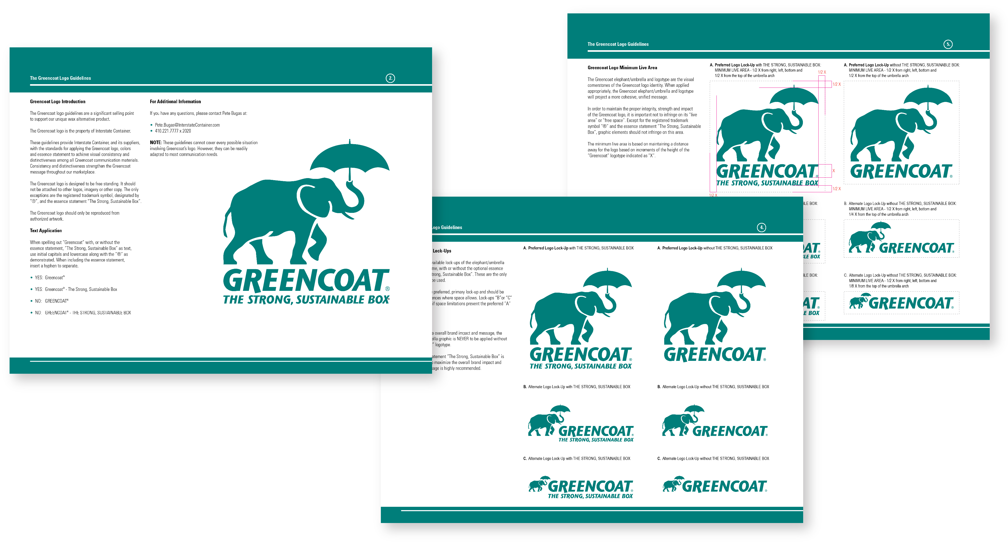 Greencoat Identity Guidelines, 3 sample pages