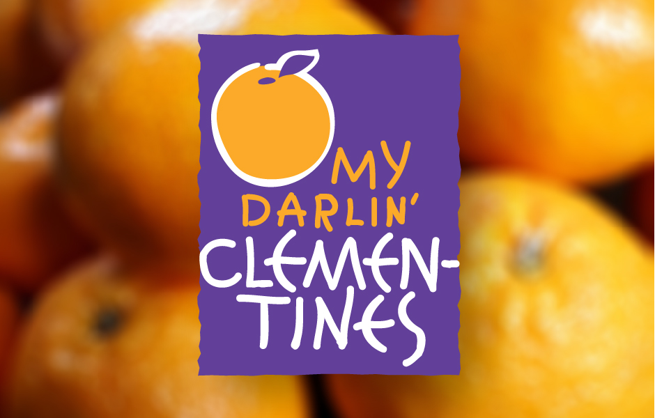 O' My Darlin Clementines, large purple rectangle logo with orange clementine graphic with orange and white type